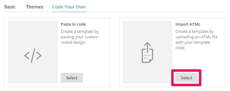 import as html mailchimp