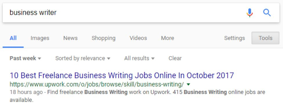 Google search results for business writer narrowed down to the past week
