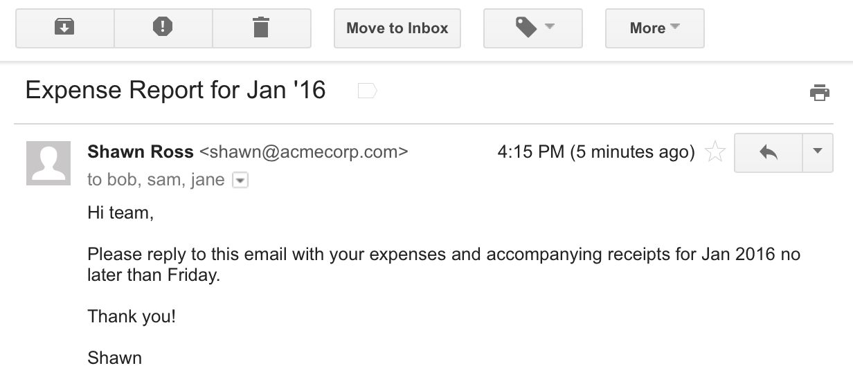 finance report email