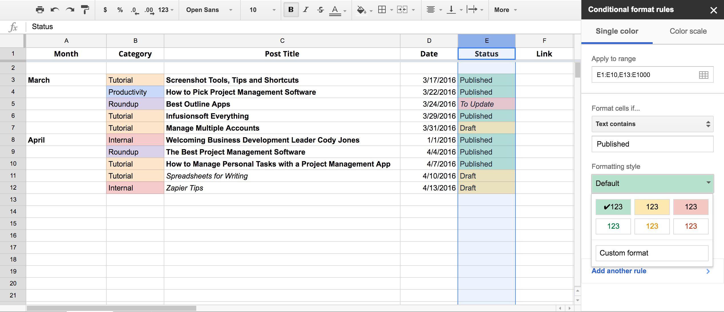 Google Sheets Editorial Calendar