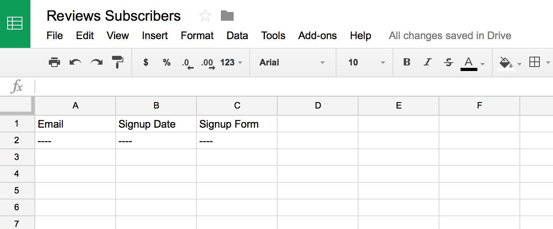 Spreadsheet for Zapier data