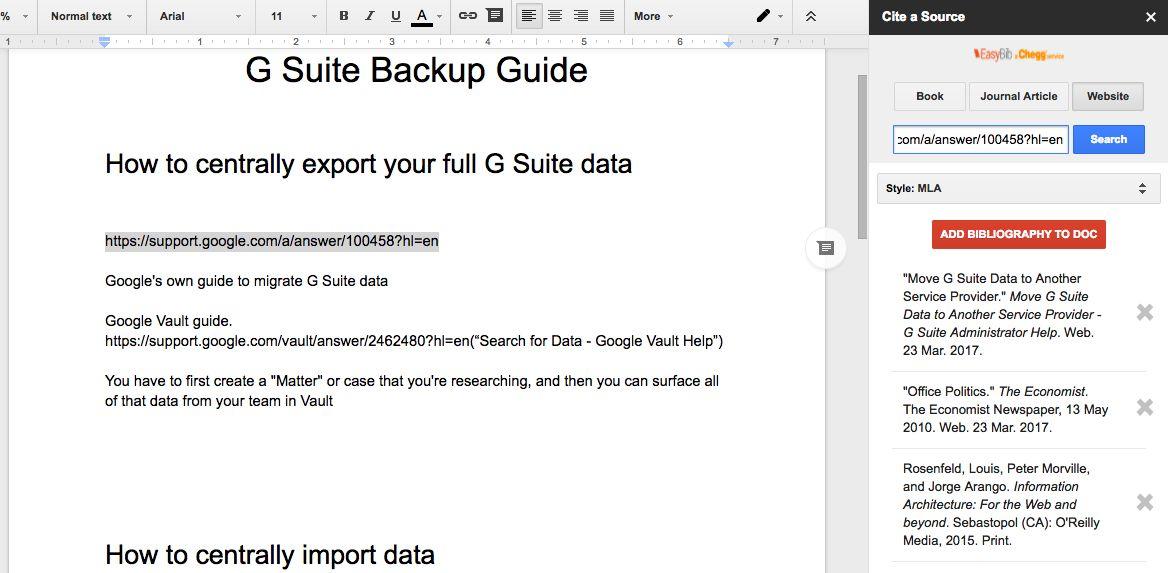 EasyBib in Google Docs