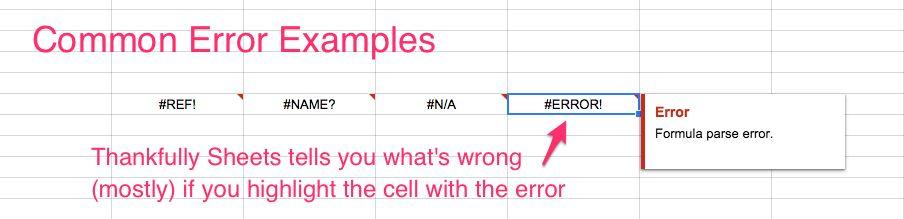Sheets errors