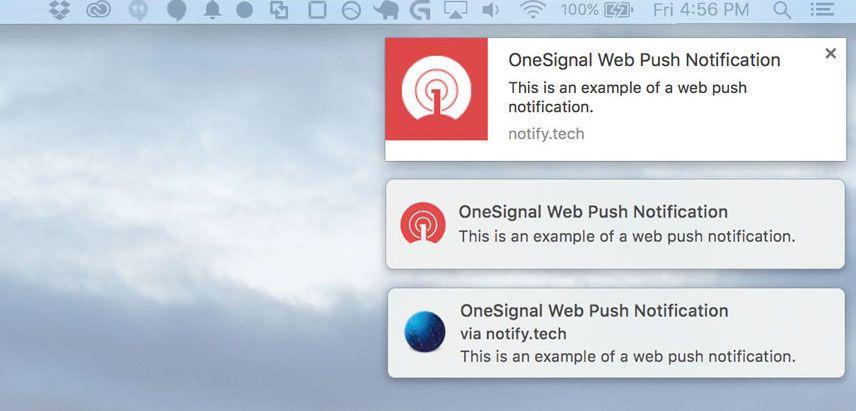 Example of OneSignal web push notifications