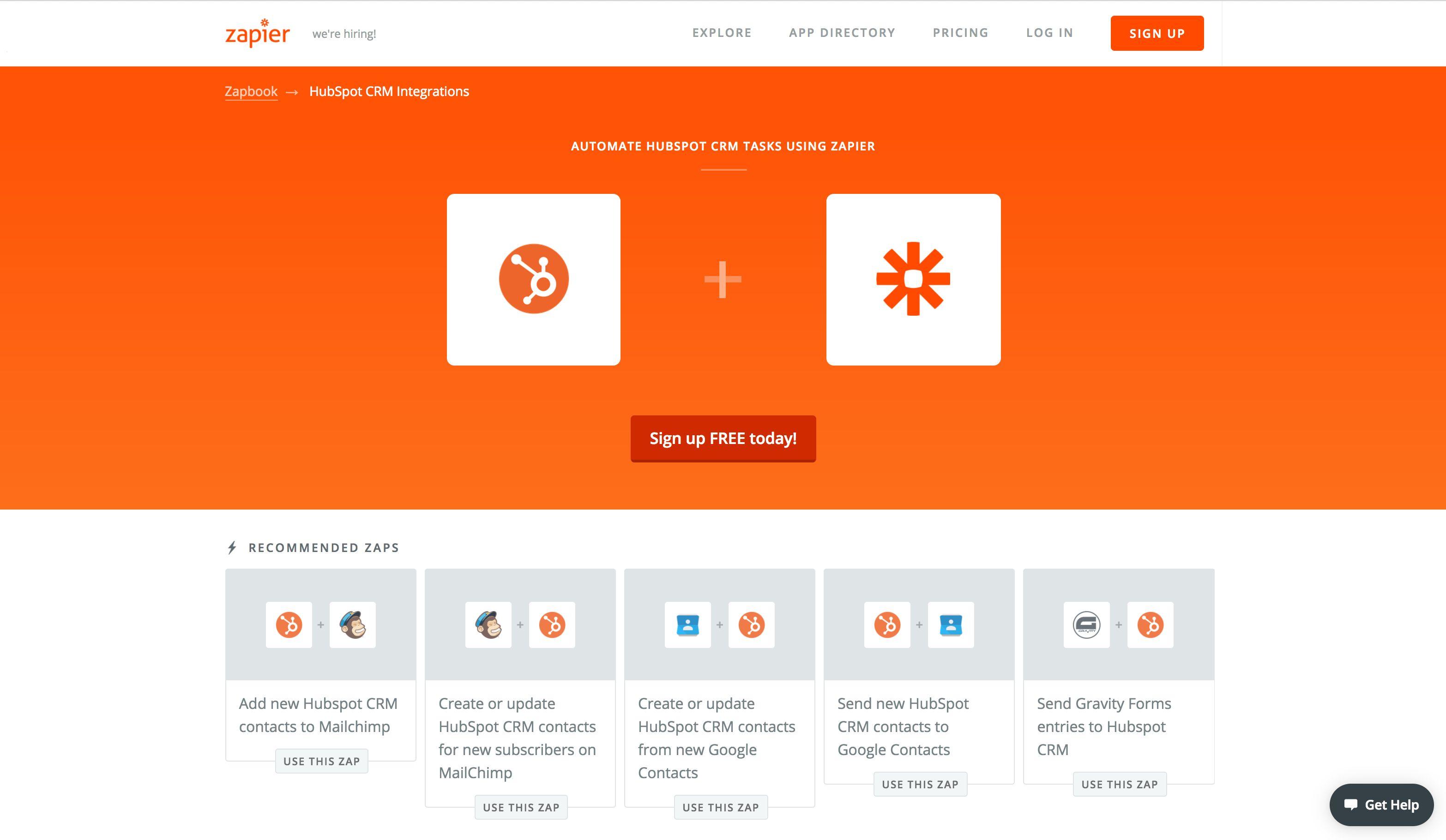 HubSpot CRM Zapbook Page