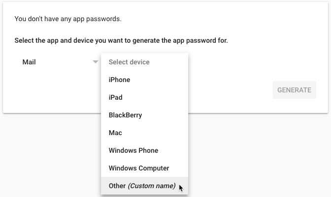 Add new App Password for old Gmail account