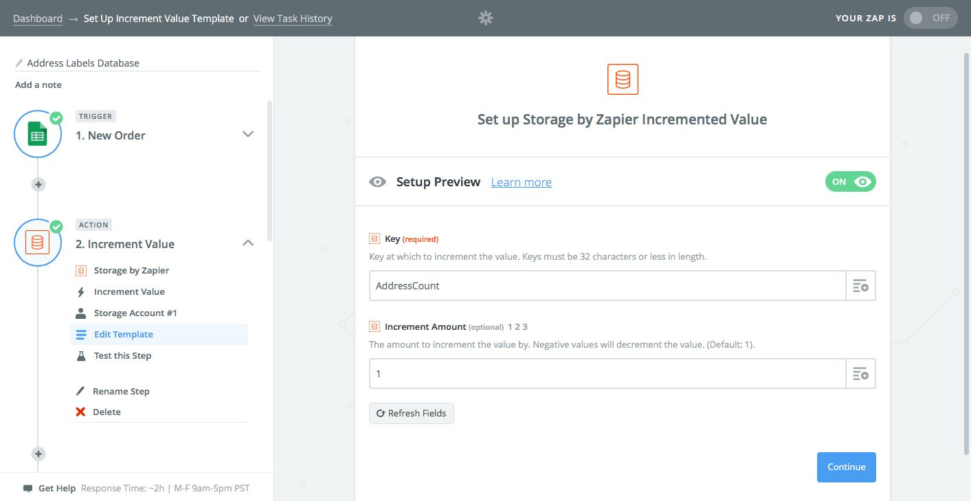 Zapier Storage counter