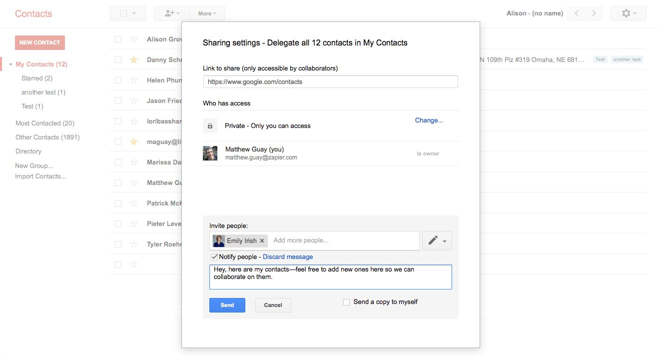 Google contact sharing with delegation