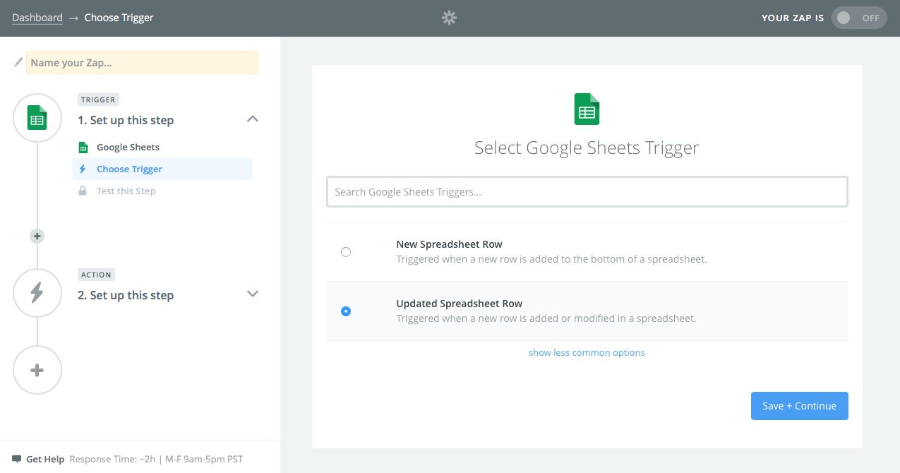 Watch Google Sheets for updated row with Zapier