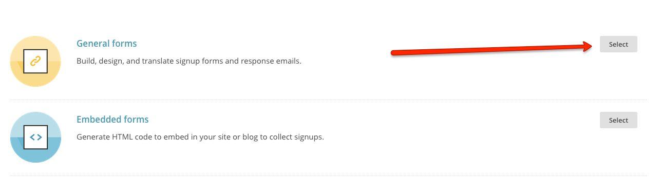 MailChimp general forms