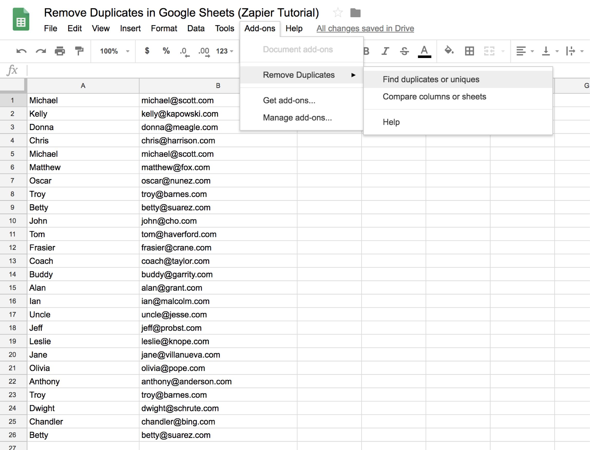 How to Remove Duplicates in Google Sheets - Google Sheets