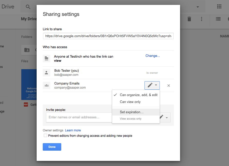 Custom G Suite Google Drive sharing settings