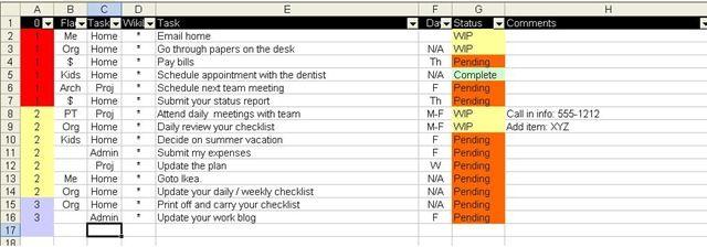 Bernie Michalik's spreadsheet to-do list