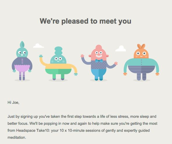 headspace welcome email