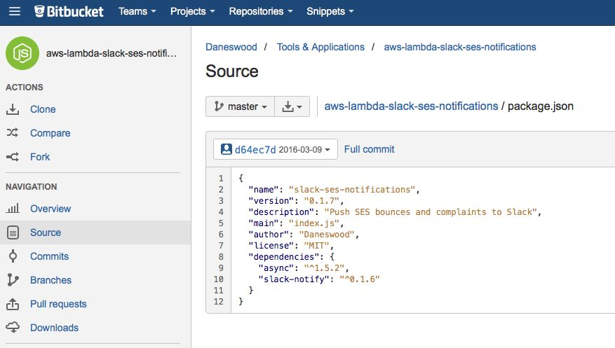 Bitbucket screenshot