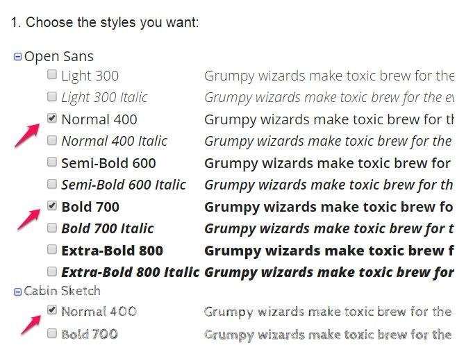 google fonts choose styles