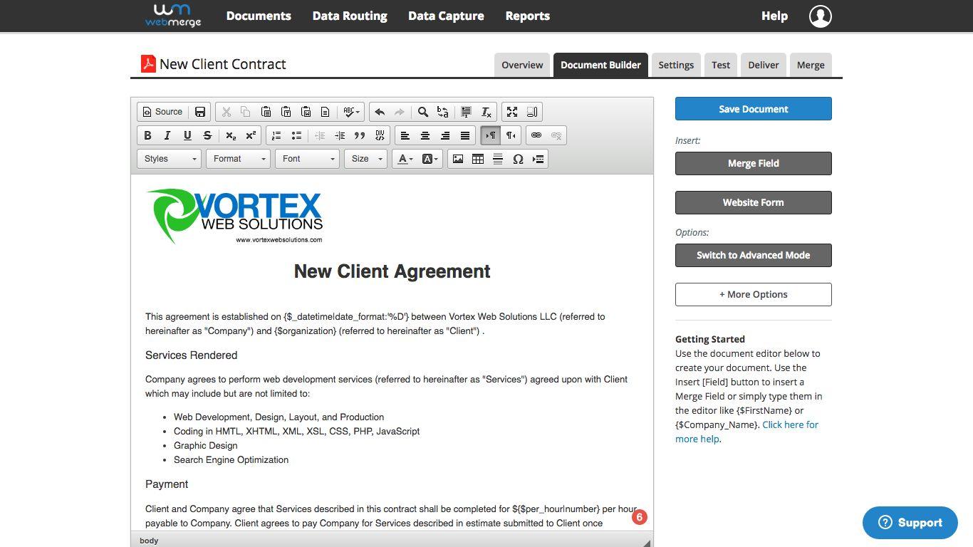 Build template document in WebMerge