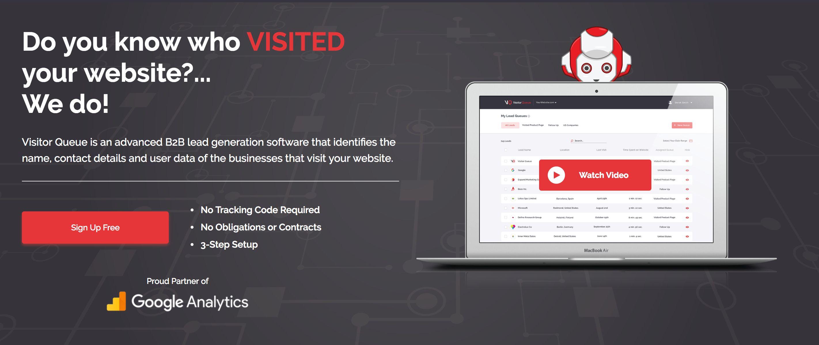 Visitor Queue marketing page