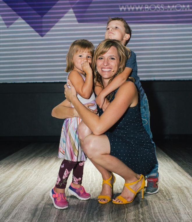 Dana Malstaff with her children at a Boss Mom conference