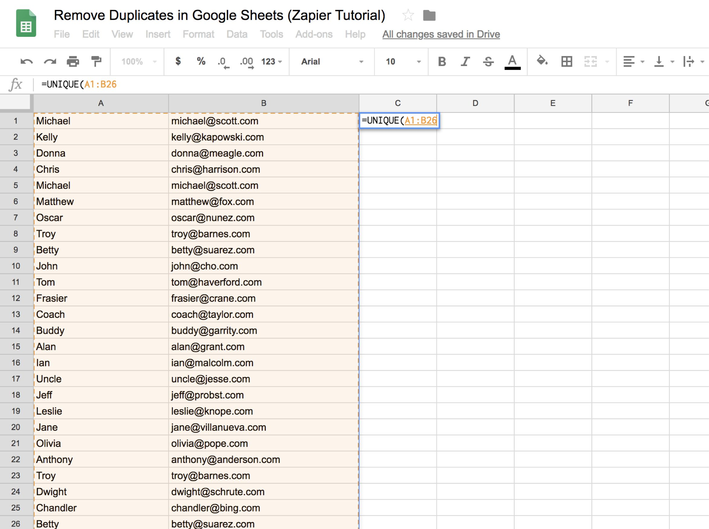 Highlighting two columns to fill the formula