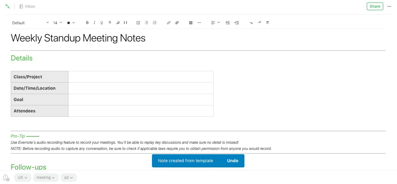 New Evernote template note