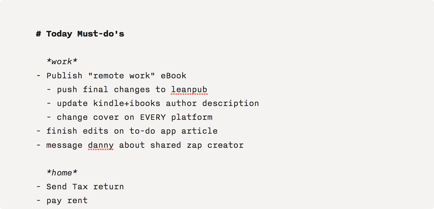 plain text to-do list