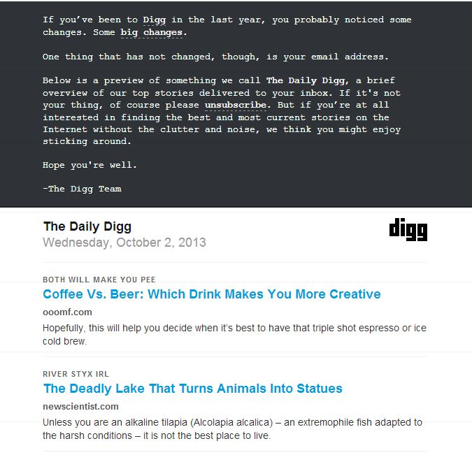 Digg re-engagement email