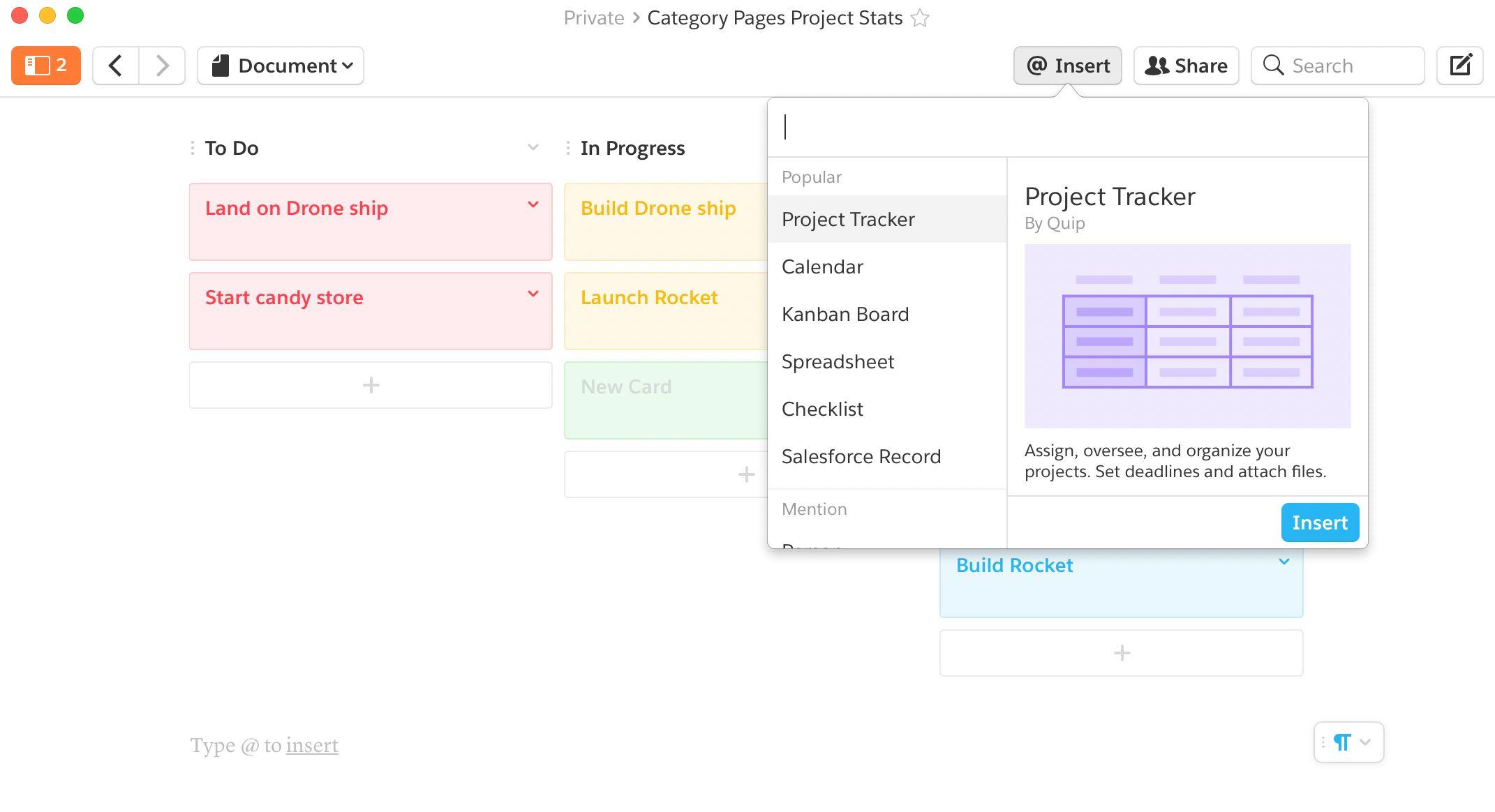 Quip app features