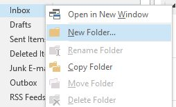 Create a new folder in Microsoft Outlook