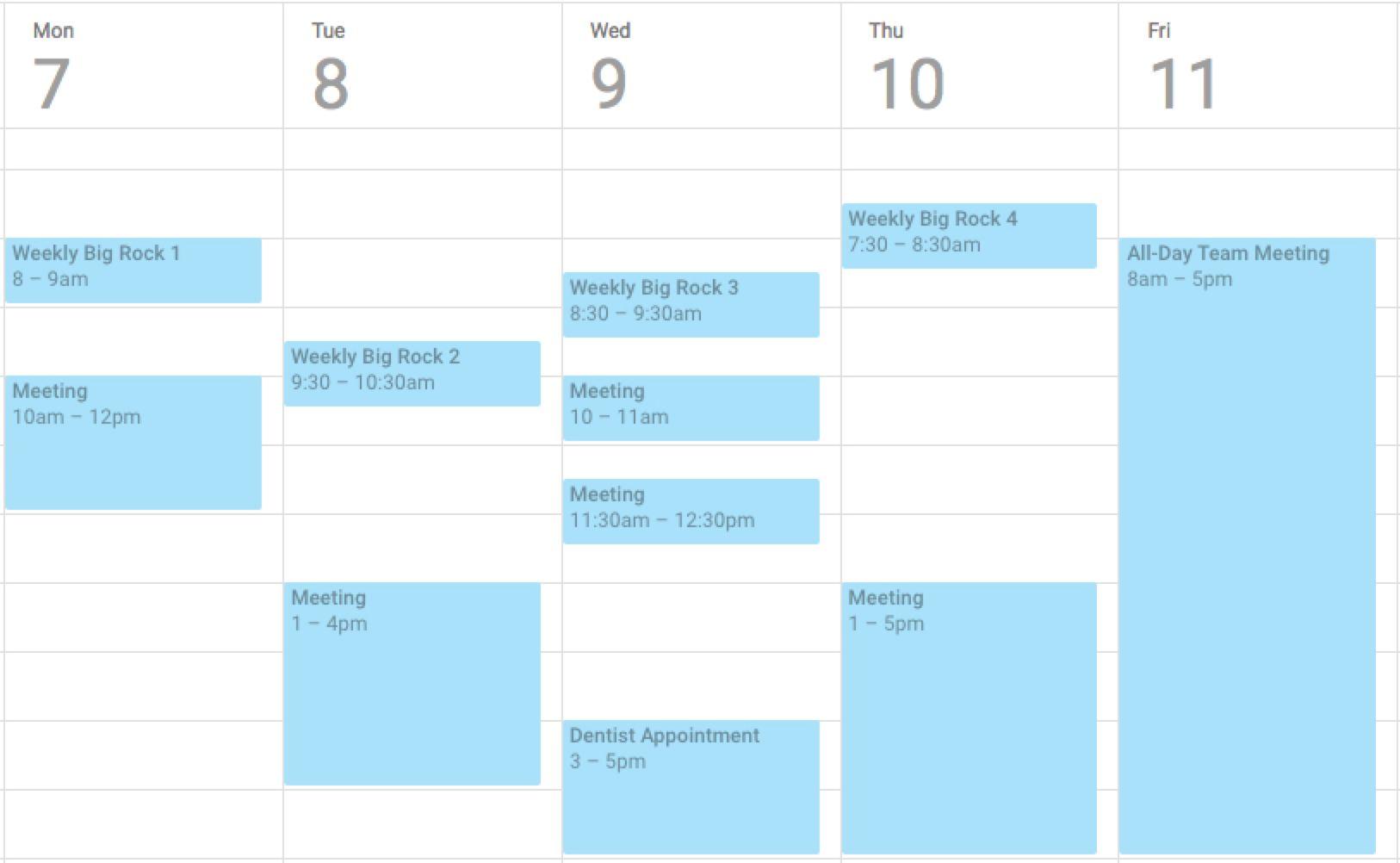Calendar with big rocks