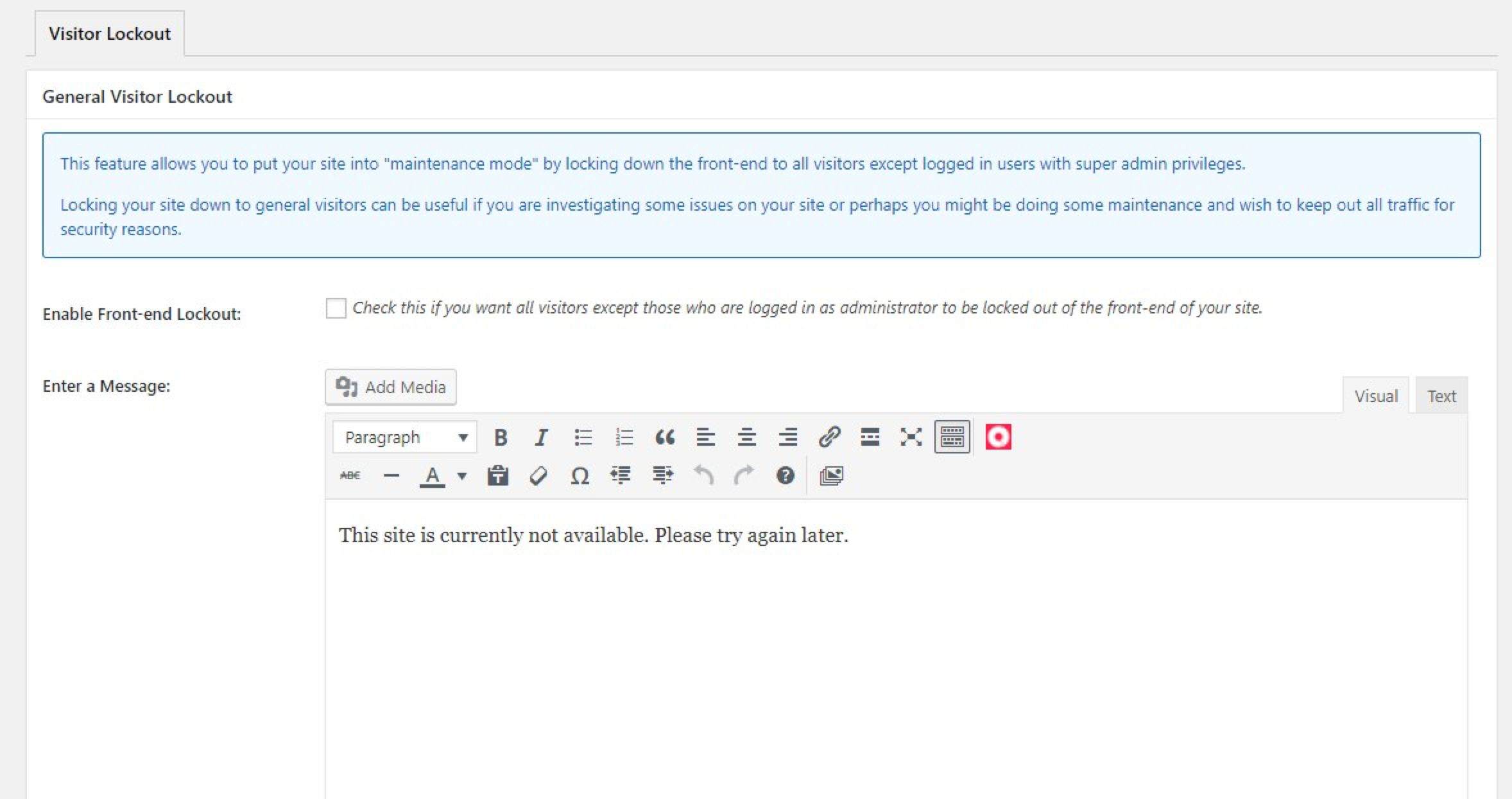 Maintenance message
