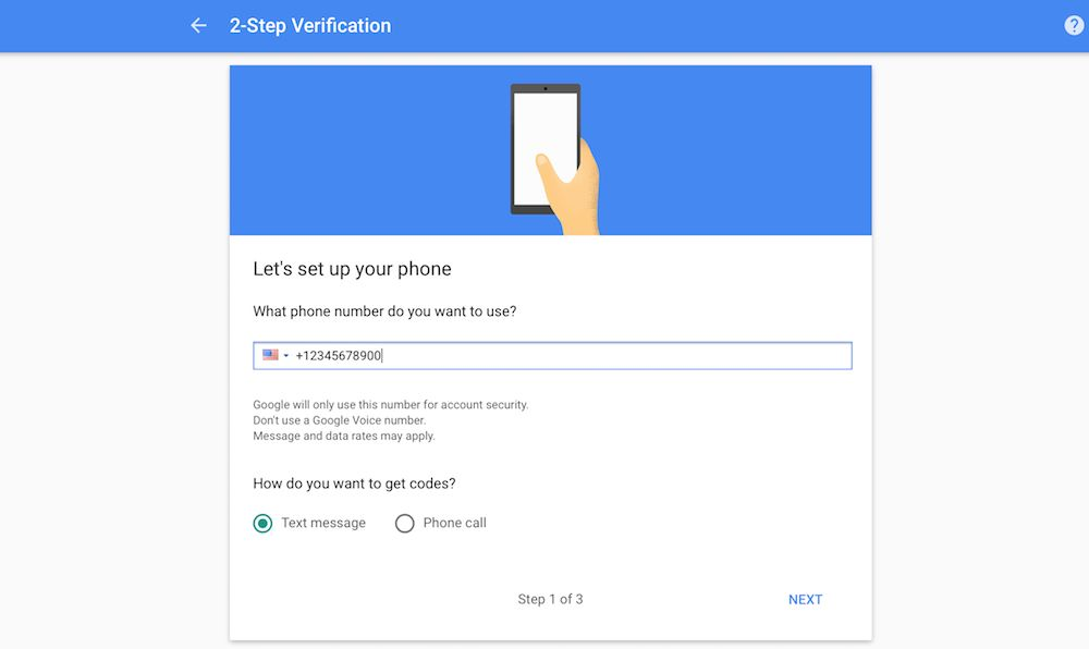 Enter phone number for Google two-factor authentication