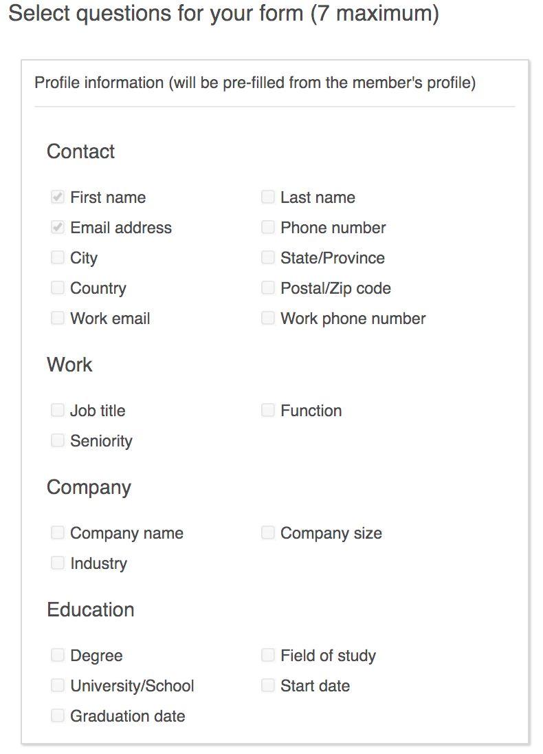 LinkedIn Lead Gen Fields