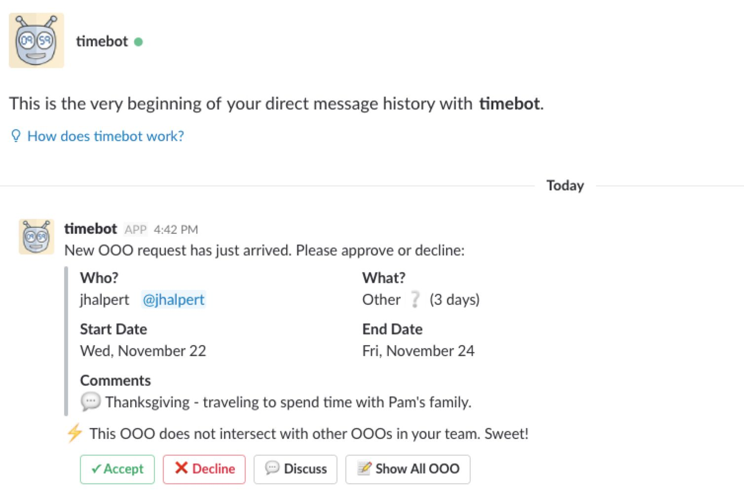 TimeBot Slack app screenshot