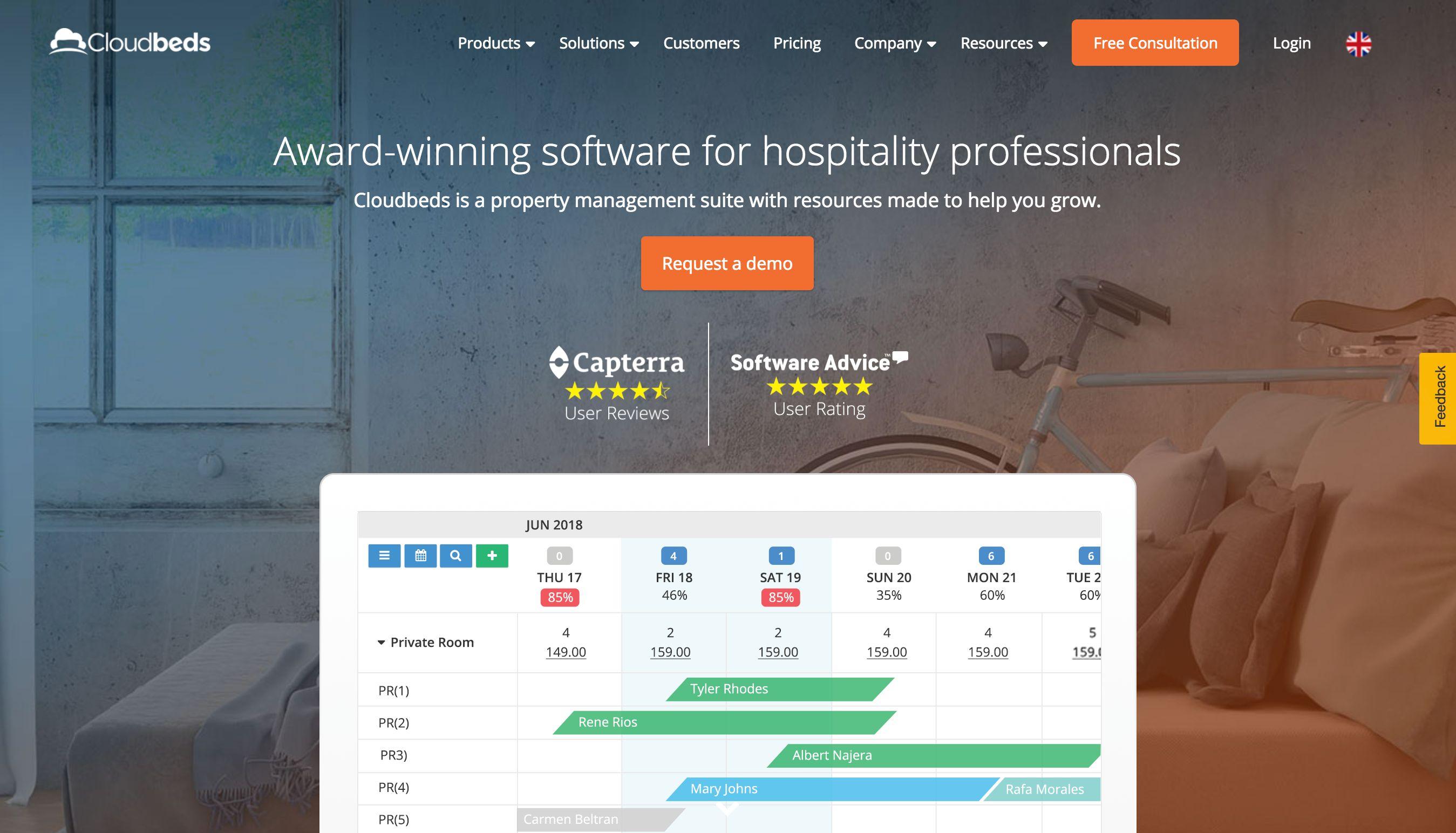 Cloudbeds home page