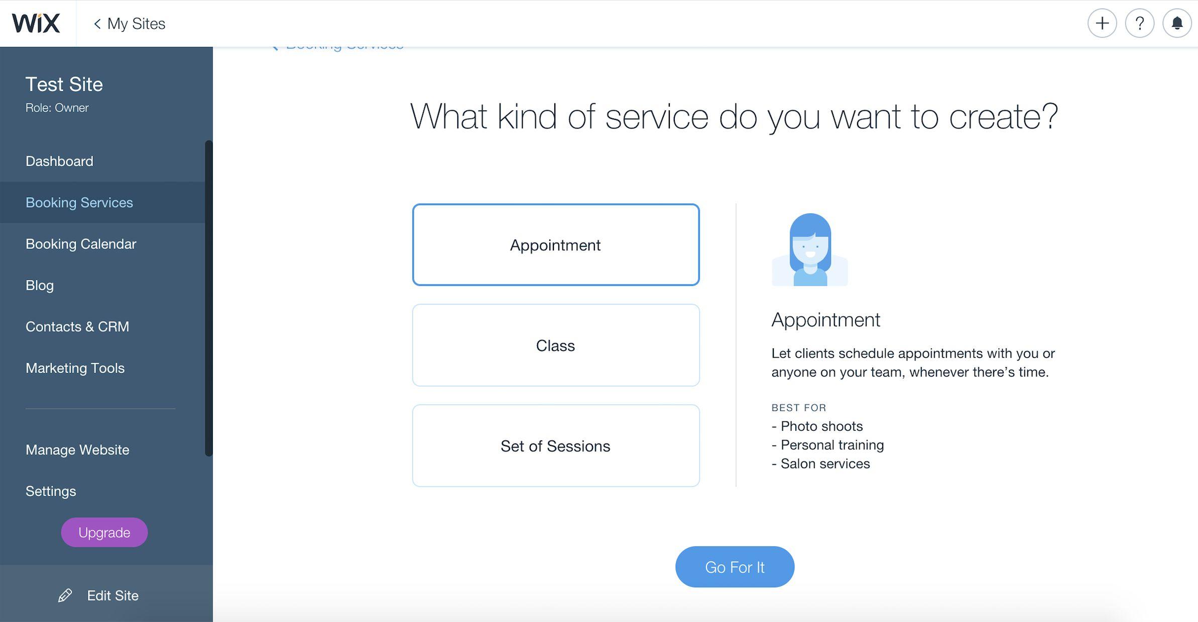 Wix page builder screenshot