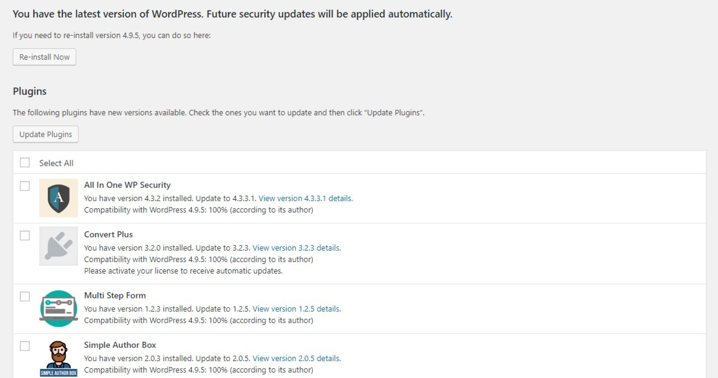 Choose updates
