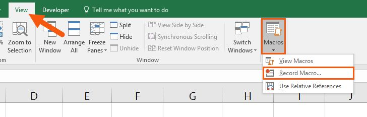 record macro in Excel