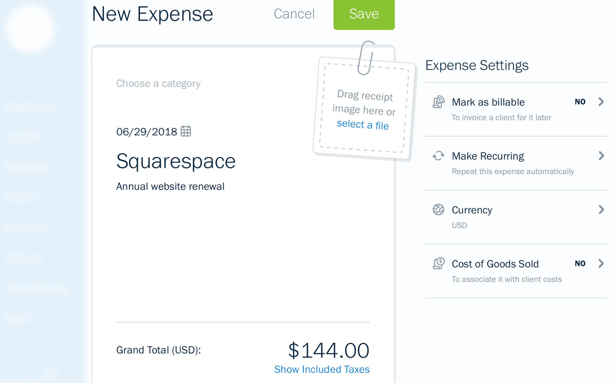 FreshBooks expense tracking screenshot