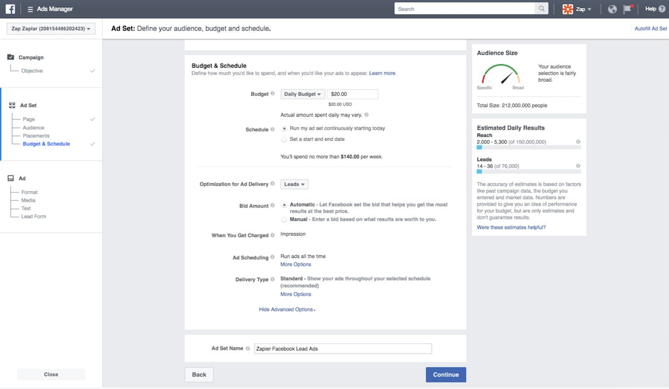 Set budget for Facebook Lead Ad