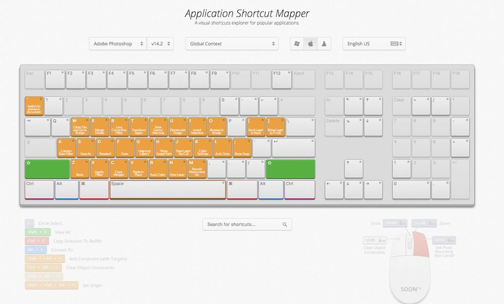 Application Shortcut Mapper for learning keyboard shortcuts