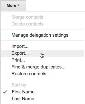 Export Google Contacts menu