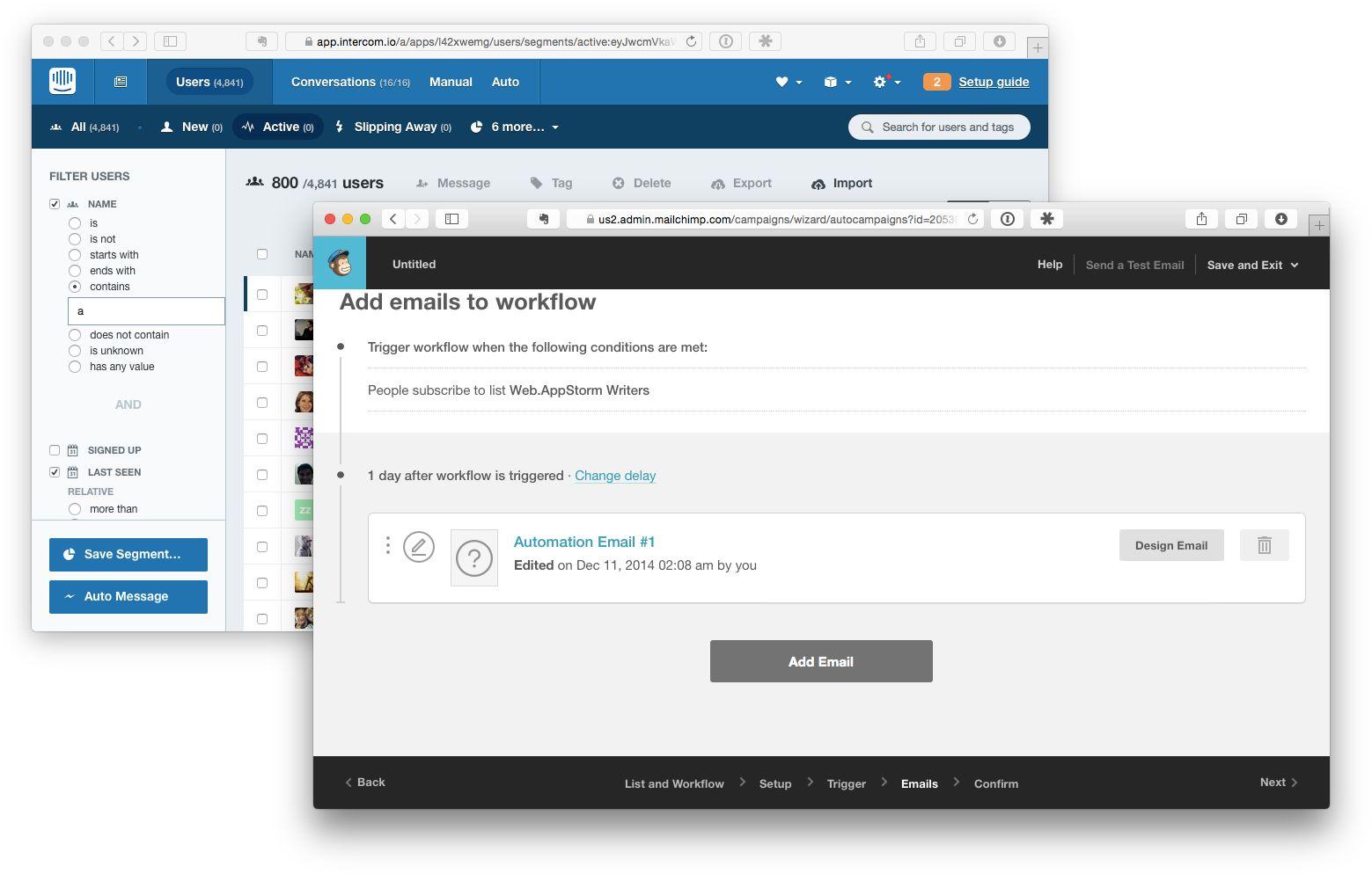 Intercom vs MailChimp