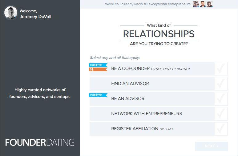 FounderDating profile