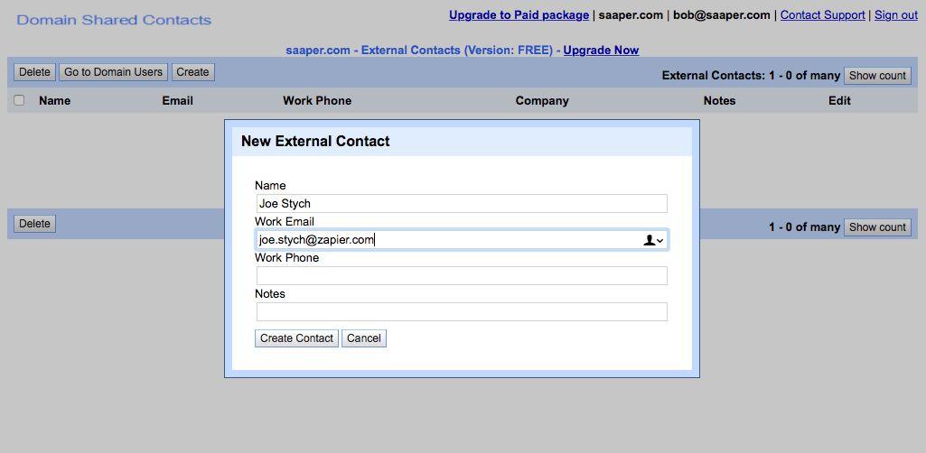 Edit G Suite Domain Contacts