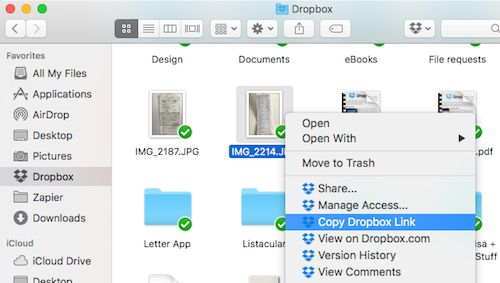 dropbox sharing link from Finder