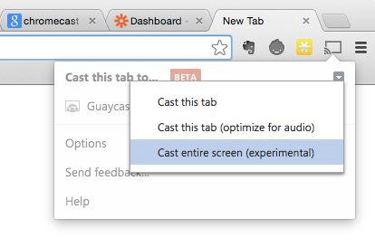 Chromecast experimental options
