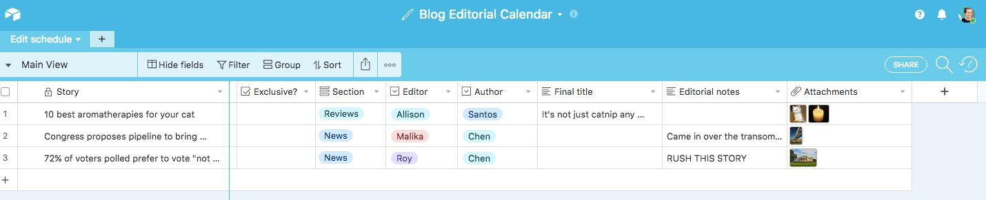 Airtable Editorial Calendar