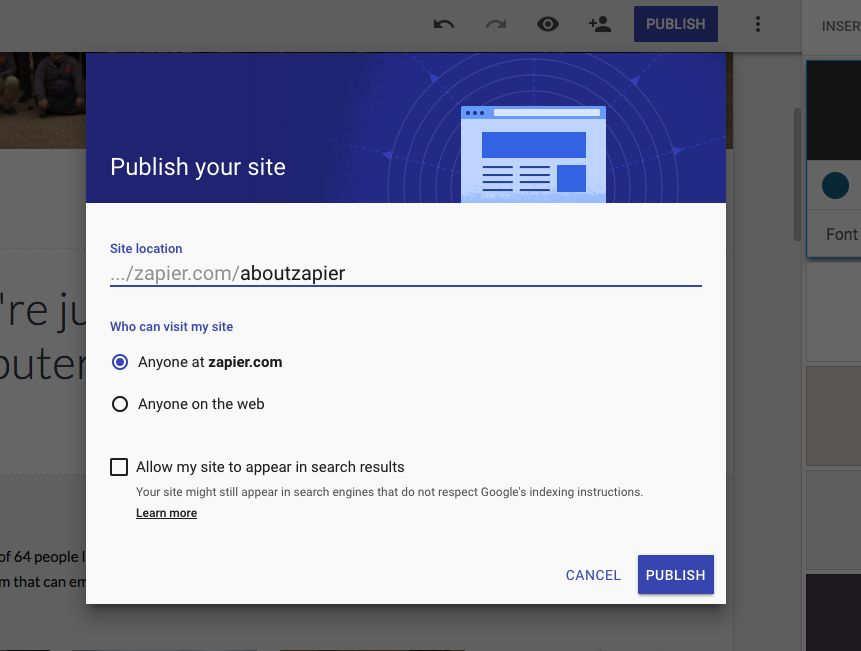 Publish Google Site