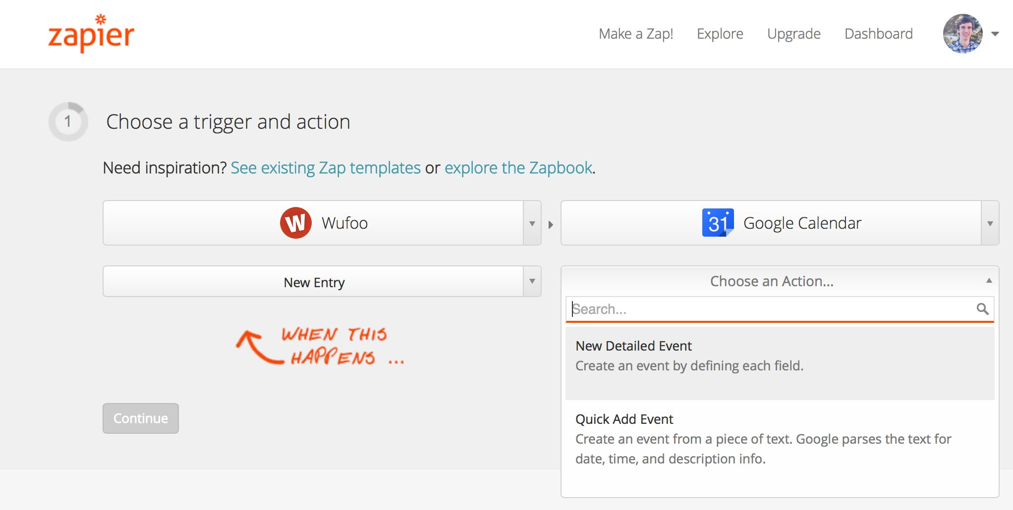 zapier add google calendar event